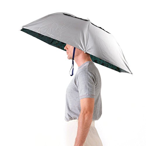 LWT Regenschirmhut, faltbar, 91,4cm Durchmesser, verstellbares Kopfband, für Angeln, Garten, Fotografie, Laufen, Herren damen, silberfarben