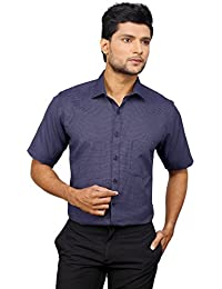 [Sponsored]Zeal Men's Checkered Formal Royal Blue And White Regular Fit Half Sleeve Shirt