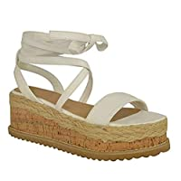Fashion Thirsty Womens Ladies Flatform Cork Espadrille Wedge Sandals Ankle Lace Up Shoes Size