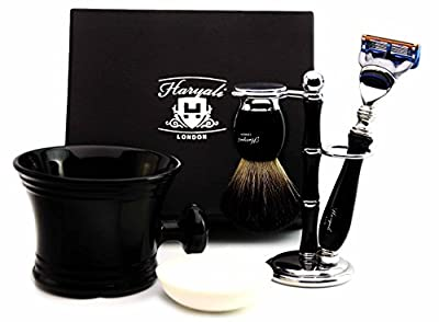 Five Piece Shaving set in Black for Men's. The set includes Pure Black Badger Hair, Gillette Fusion Razor, Shaving Mug, Shaving Brush Stand/Holder and shaving soap). Perfect as a Gift.