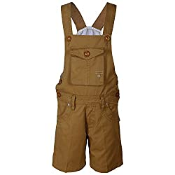 FirstClap Cotton Khaki Short Dungaree for Kids