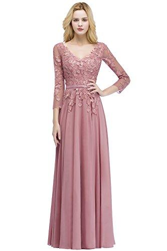 Damen Elegant Langarm A-Linie Hochzeitskleid Brautmutterkleid mit Spitze Wedding Dress Lang Alt Rosa...