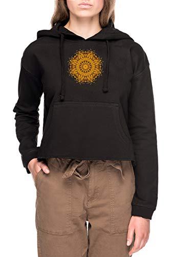 Mandala 1 Mujer Sudadera con Capucha De Crop Negro Women's Crop Hoodie Black