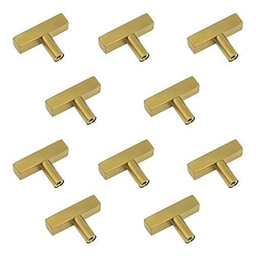 10Stück Messing gebürstet Schrank Griffe quadratisch T Bar Kommode Schrank Tür Pull Golden Küche Hardware Türhenkel single hole -