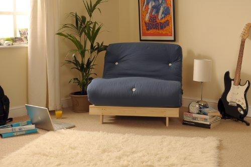 3ft (90cm) Single Wooden Futon with NAVY Mattress