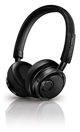 Philips M2BTBK Fidelio On-Ear Closed Back HD Wireless Bluetooth Headphone with Mic