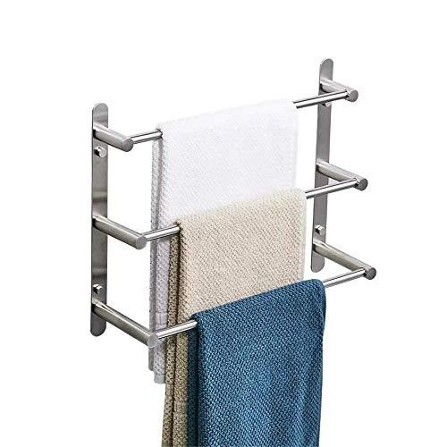 Dreischichtiger Handtuchhalter Aus Edelstahl, Badregal Aus Gebürstetem Nickel, Wandmontage, Handtuchhalter 19,6