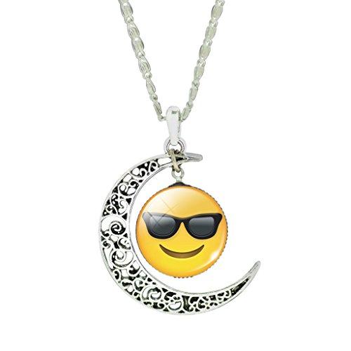 Jiayiqi Femmes Drôles Emoji Cabochon Collier Vintage Crescent Creux Collier Pendentif No 9