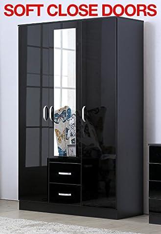 Gladini XL Mirrored Black High Gloss 3 Door Wardrobe with 2 Drawers - SOFT CLOSE - Hanging Rail (Black)