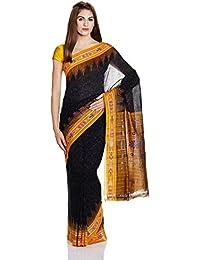 IndusDiva Black Nuapatna Cotton Handloom Saree