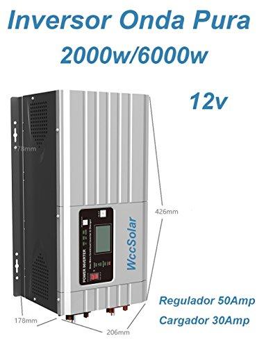 Inverter Onda Pura Hibrido 2000W/6000W 12V regolatore 50A caricatore 30A bassa frequenza)
