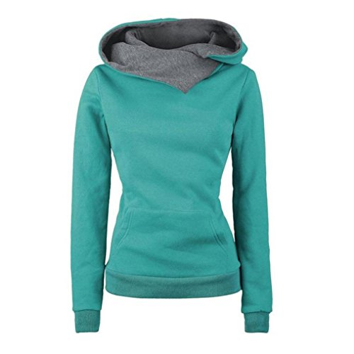 Damen Kapuzenpullover Lange Ärmel Ireegular Kapuzenpulli Herbst Winter Warme Pullover Sweatshirt Mit Taschen Hoody Von Xinan (S, Grün) (Edc Kostüme)