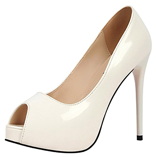 Oasap Women's Peep Toe Platform High Heels Slip-on Pumps White