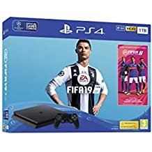 Sony PlayStation 4 1TB Console (Black) with FIFA 19 Ultimate Team Icons and Rare Player Pack Bundle