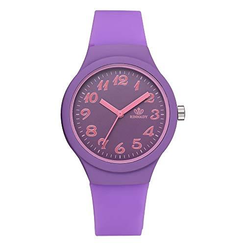 CarJTY ✨ Silikonarmband Mode Frauen Uhren Damen Solid Pattern Casual Armbanduhr Uhr ✨ Exquisite Mode einfarbig Exquisite Damen Obst Uhr