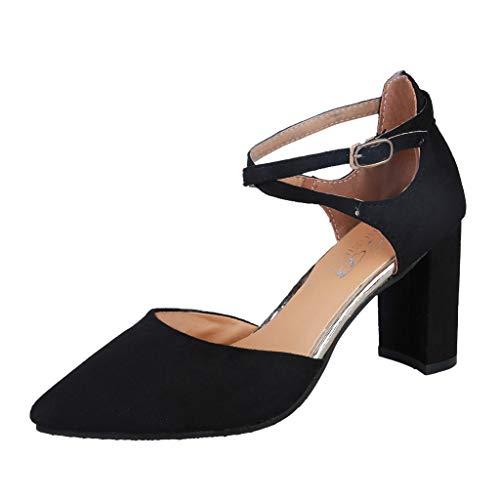 Damen Pumps | Bequeme Riemchen High Heels | Vintage-Style | Abendschuh Trendy | Chunkyrayan Dick Blockabsatz Lack Hochzeit Abiball
