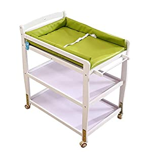 Baby Changing Table Wooden On Wheels - Infant Newborn Nursery Mobile Diaper Station Height Adjustable, Baby Cot (Color : Green)   1