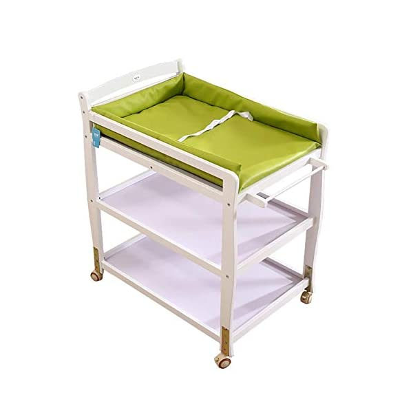 Baby Changing Table Wooden On Wheels - Infant Newborn Nursery Mobile Diaper Station Height Adjustable, Baby Cot (Color : Green) GUYUE 3-gear higth adjustment, the height can be adjusted freely according to the height of the mother. Guardrail: Guardrail height 13cm, Protect your baby's delicate body. Strong and sturdy wood construction, Pine wood production, health and Environmental Protection.(Load bearing 150kg) 1