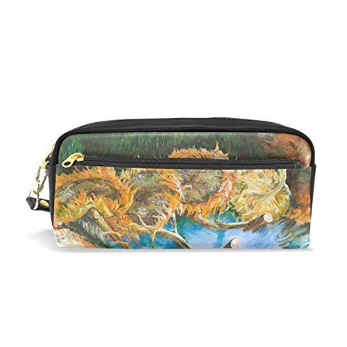 Ahomy Van Gogh Malen Vier Sonnenblumen Federmäppchen für Mädchen und Jungen, Stiftebeutel Schreibwaren, Make-up-Tasche, Geldbörse, große Kapazität, wasserdicht für Frauen