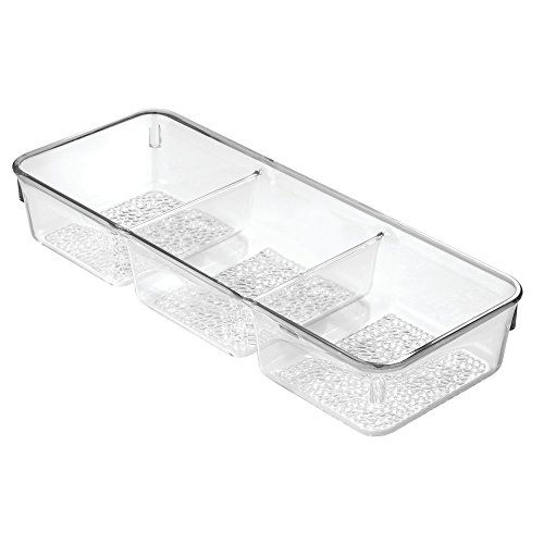 InterDesign Rain Cosmetic Organizer for Vanity Cabinet to Hold Cosmetics, Beauty Products - 3 Compartments, Clear