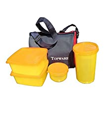 Topware Plastic Lunch Box Set, 1200 Ml, Multi-Colour