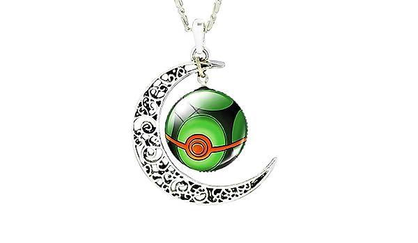 Poke Ball KIRALOVE Collier Femme Bijoux Fantaisie Vert Lune Rouge Pokemon go Pikachu Pokeball pok/è gar/çon cabochon Homme Double Pendentif