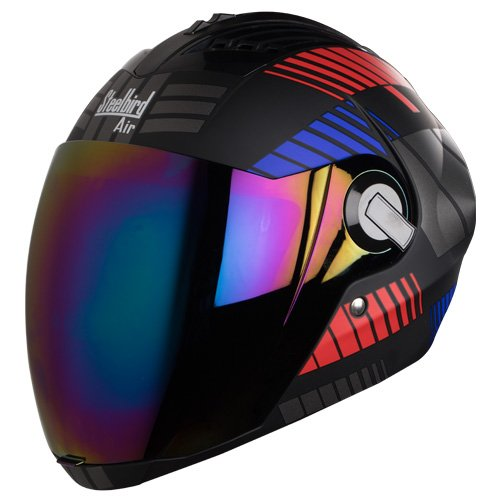 Steelbird Yooshopper Sba-2 Full Face Helmet,Free Transparent Visor And Free Venus Safety Pollution Mask (Large 600Mm, Black Red With Blue)