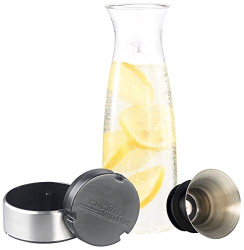 Cucina di Modena Karaffe: Glaskaraffe mit integriertem Sieb und seperatem Kühl-Sockel mit Akku (Wasserkrug) (Flüssigkeit-kühler Klare)