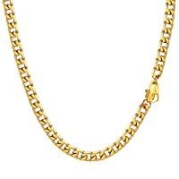 Men Necklace Gold Chains, Cuban Link Curb Neck Link Jewelry Chains for Men Women 4mm Width 26'' Length