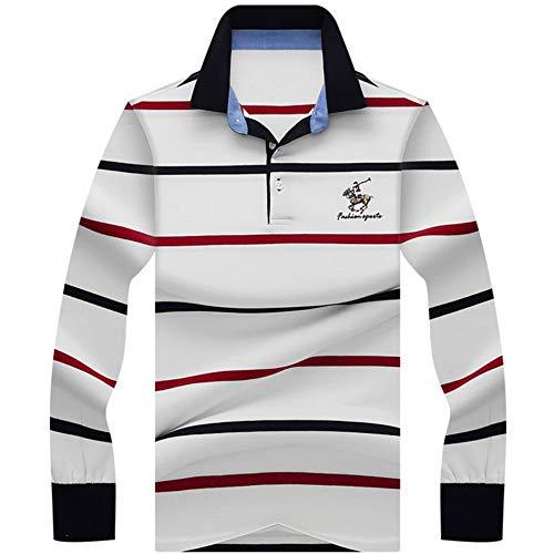 NISHIPANGZI Herren Polo Shirt gestreift Casual Neue komfortable 3D Stickerei Poloshirt Männer Langarm Weiß, M Verschleiß -