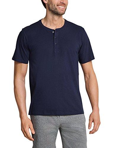 Schiesser Herren Schlafanzugoberteil Mix & Relax T-Shirt Knopfleiste Blau (Dunkelblau 803) 5X-Large - 5xl 5x T-shirt