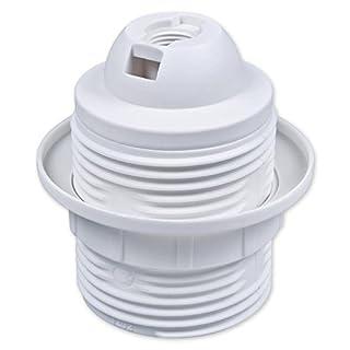 E27 Lampenfassung Kunststoff (PBT), Gewindefassung mit Einbauring Weiß (RAL 9003)