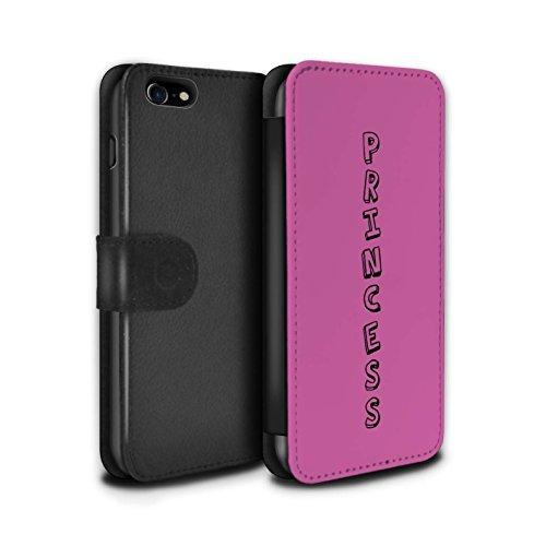 Stuff4 Coque/Etui/Housse Cuir PU Case/Cover pour Apple iPhone 7 / Bleu/Appelez-Moi Design / Mots Griffonnage Collection Rose/Princesse