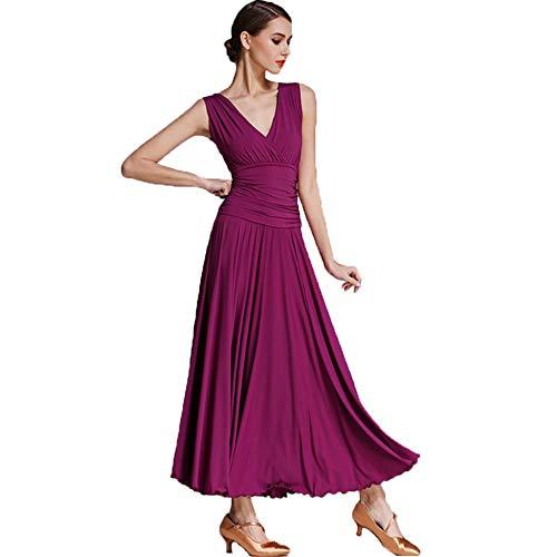 CPDZ Frauen Lyrical Dance Dress Faltenrock V-Ausschnitt Maxi-Kleid Minimalismus Trikot Skater Kleid Kleid Nacht Cocktail Latin Waltz,S (Skaters Waltz Kostüm)