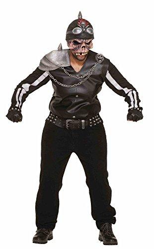 Zombie Rider 3D Kostüm für Herren Gr. M/L Halloween Horror Biker Geist gruselig (Dead Biker Halloween Kostüme)