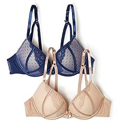 Iris & Lilly Push-Up, Sujetador de Plumas para Mujer, Multicolor (Blue/Nude Blue/Nude), 90B (Talla del fabricante: 34B)Pack de 2