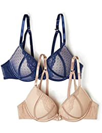 iris & lilly Soutien-Gorge Push-Up en Maille Femme, Lot de 2