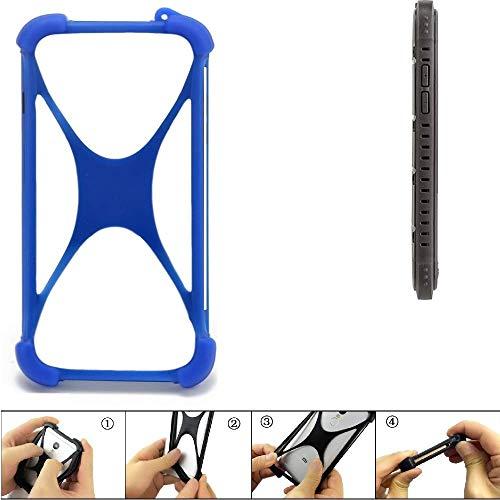 K-S-Trade Handyhülle für Cyrus CS 35 Silikon Schutz Hülle Cover Case Bumper Silikoncase TPU Softcase Schutzhülle Smartphone Stoßschutz, blau (1x)