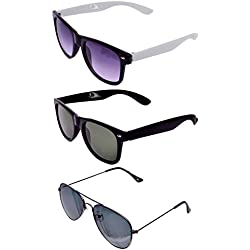 RST Aviator & Wayfarer Men's Sunglasses Set of 3 Combo Pack (rst-010-010|Multicolour)