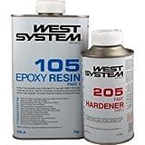 West System Resina epossidica per legno, vetroresina e metallo 105 + Indurente standard 205, colore: Ambra chiaro, size: 1,2 kg
