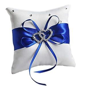 aoory Double Heart Strass Hochzeit Ring Kissen Der Blau Für Hochzeit Braut Party