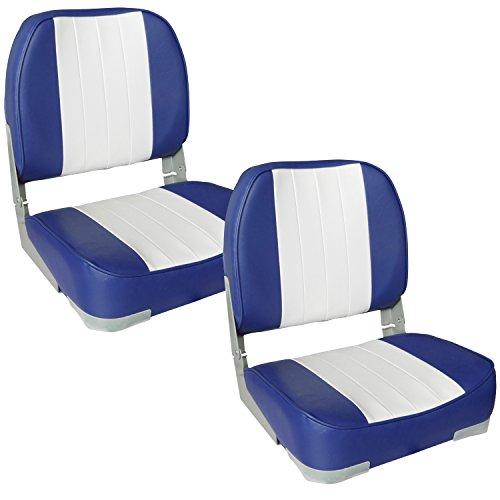 [pro.tec] 2X Bootssitze (blau - Weiss) im Sparpaket - aus wasserfestem Kunstleder/Steuerstuhl/wasserfest/gepolstert/Kapitänsstuhl/Angelsitz/UV- beständig
