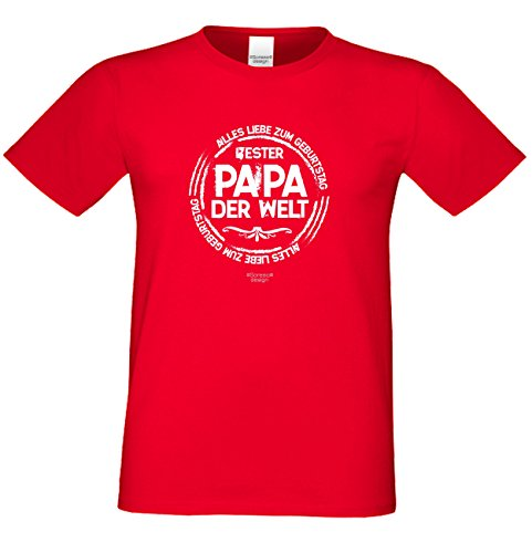Fun T-Shirt Bester Papa der Welt als Geburtstags-Weihnachts-Vatertags-Geschenk für Ihren Daddy Papa Vater auch Übergrößen 3XL 4XL 5XL in vielen Farben rot-10