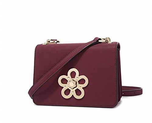 Kleine Quadratische Tasche Freizeit Schulter Messenger Tasche Rotwein