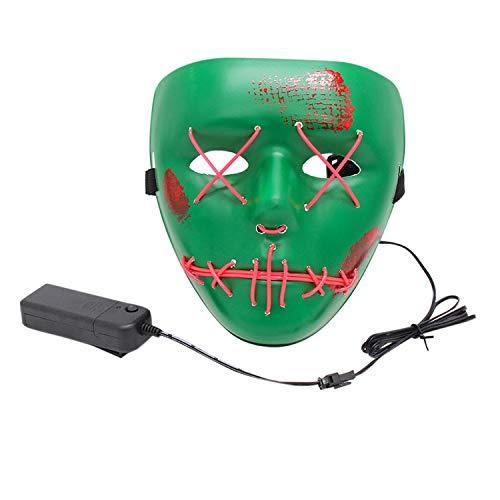 Kostüm Elf Maske - LAEMILIA Maske LED Light EL Wire Erwachsenen Cosplay Purge Mask Festival Fashing Karneval Party Haslloween Kostüm Verkleiden Zubehör (HA Maske, Grün-11)