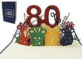 LIN POP UP Karte 3D Grußkarte Geburtstagkarte 80. Geburtstag party, blau #209#