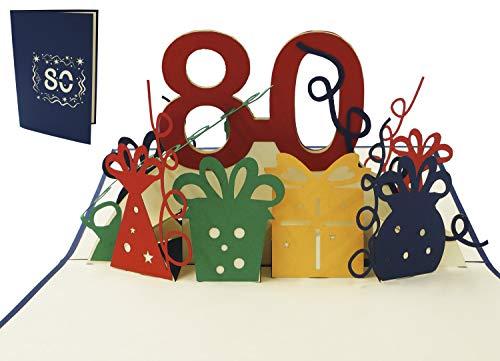 LIN 17267, POP UP Karte 3D Grußkarte Geburtstagkarte 80. Geburtstag, N209