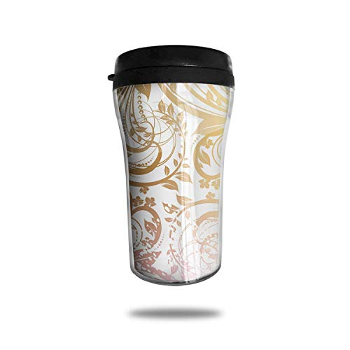 Gold Seamless Floral 8.5 Oz Tumbler-Vacuum Insulated Double Stainless Steel Water Bottle Travel Coffee Mug Cup -