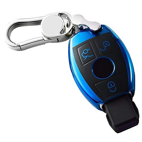 AREDOVL Mercedes Benz Key Fob Cover Protección Completa Funda Key Fob con Llavero Control Remoto Smart C200L / C, glc260, glk300 / gla200 (Color : Blue, Style : with Metal)