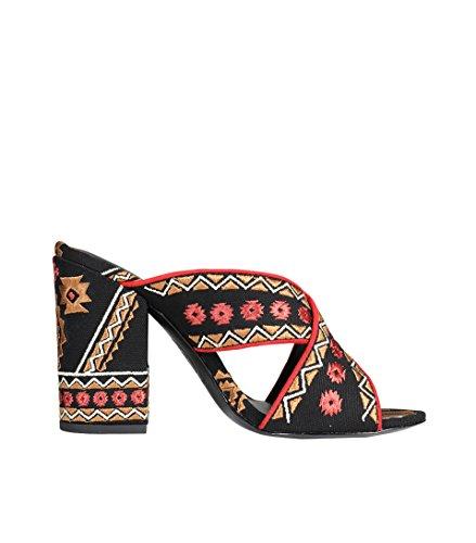Sandalo Donna In Frassino Con Motivo In Tessuto Nero Nero / Corallo